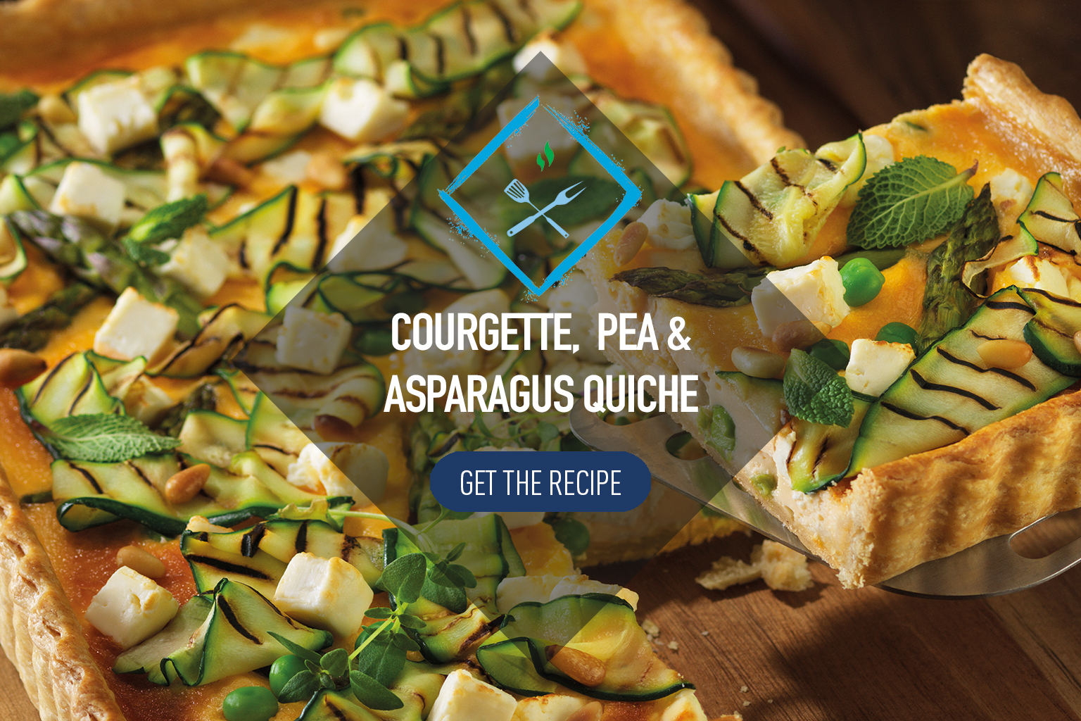 Courgette, Pea and Asparagus Quiche with White Cheese