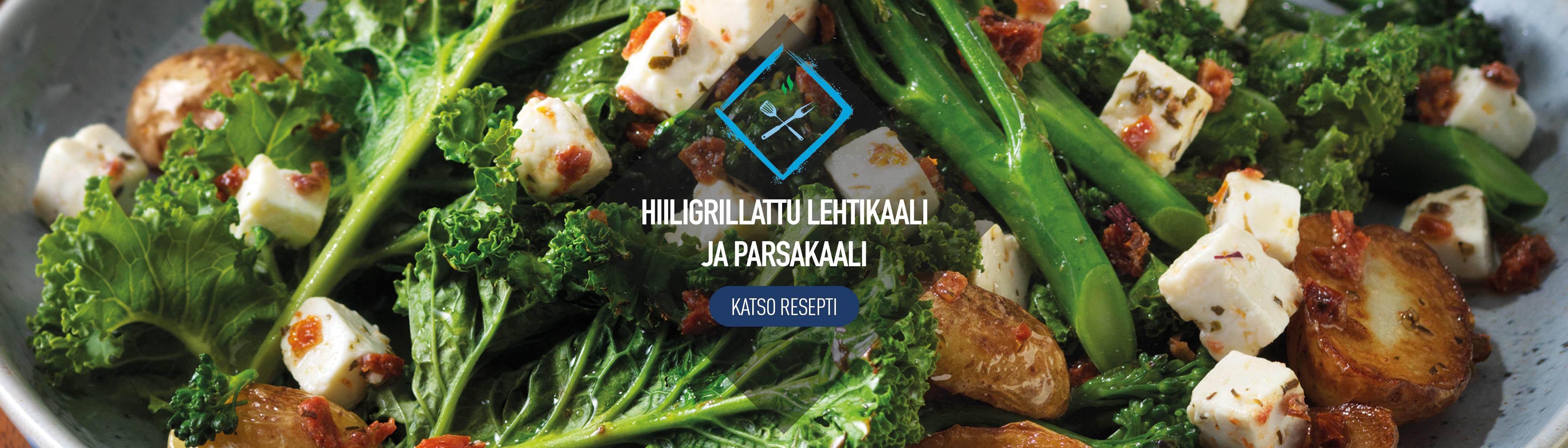Hillostettu Lehtikaal Broccolini ja Perunasalaatti