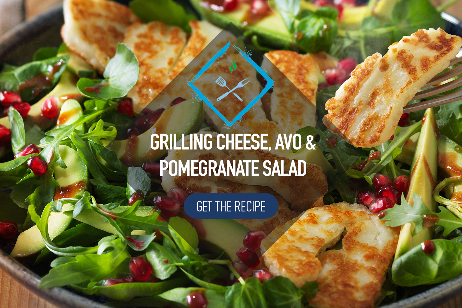 Grilling Cheese Salad with avocado and pomegranate