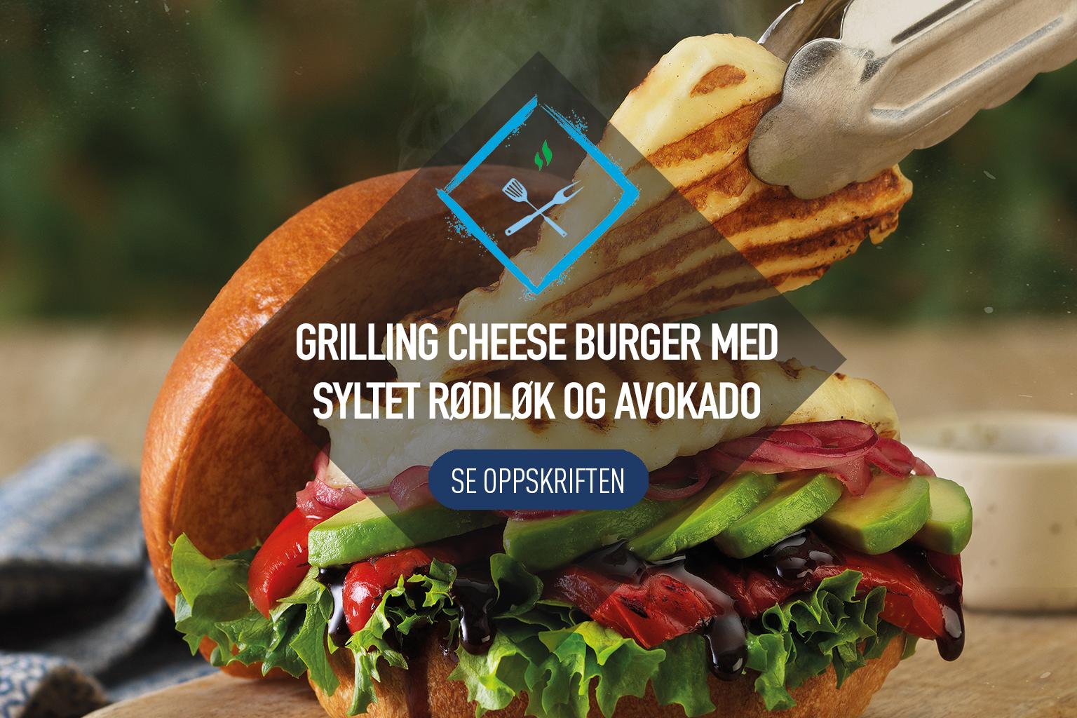 Grilling Cheese Burger med lynsyltet rødløk og avokado