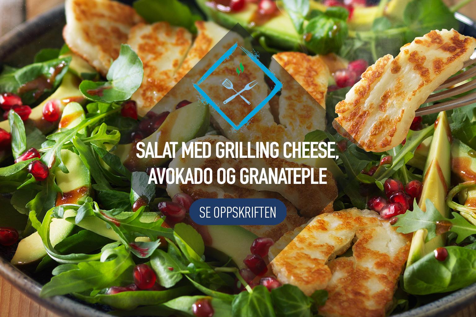 Grilling Cheese Salat med avokado og granateple