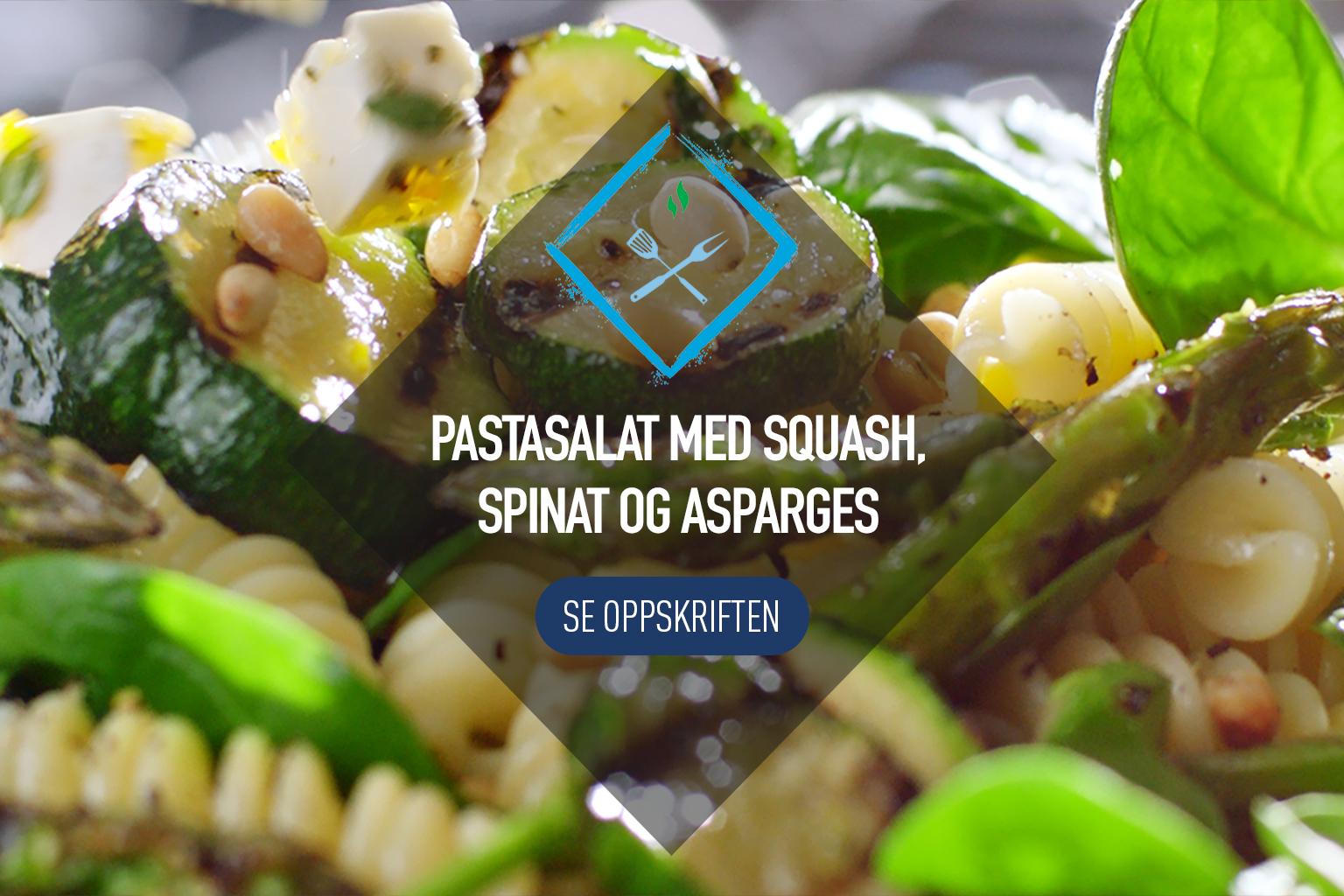 Pastasalat med squash, spinat, asparges og Apetina