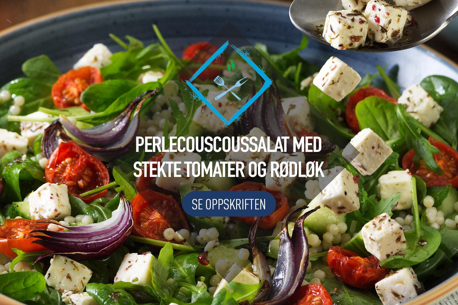 Perlecouscoussalat med stekte tomater, rødløg og Apetina