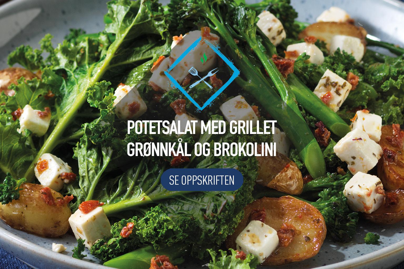 Potetsalat med stekt grønnkål og brokkolini