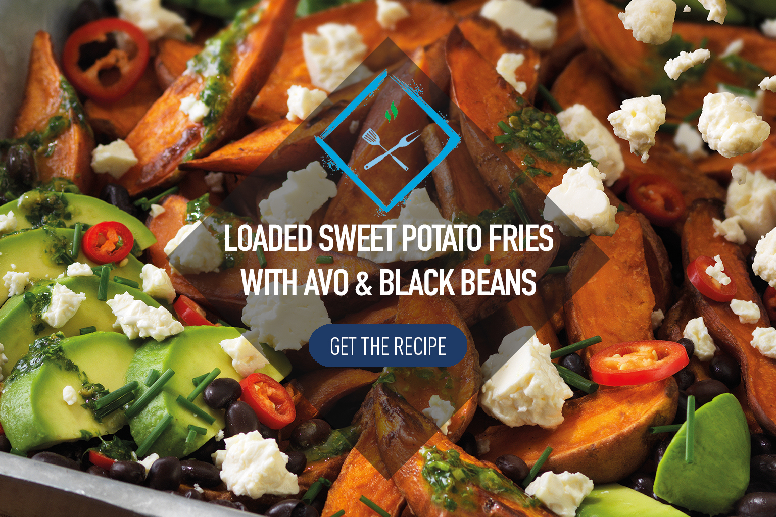Loaded sweet potato fries with avocado and black beans